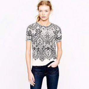 JCREW lace printed short sleeve sweater